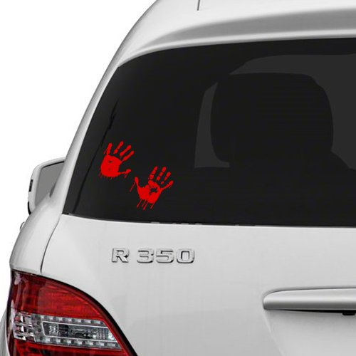 10x7 Cm Vinylwand Abziehbild Rot Blutigen Hände Design / Blut Vampir Hand Kunstdekoraufkleber / Lustige Walking Dead Autoabziehbilder Free Zufalls Aufkleber Geschenk