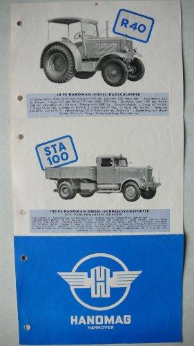 Prospekt/brochure - Traktor Schlepper LKW Hanomag R 25C/D Normal, R 40 Standard, KV 50, ST 20 Kleinzugwagen, R 40, STA 100 LKW, Pritsche, Kipper, Anhänger - Drucknummer 143