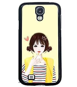 Printvisa Yellow Jacket Cute Girl Back Case Cover for Samsung Galaxy S4 Mini::Samsung Galaxy S4 Mini i9190