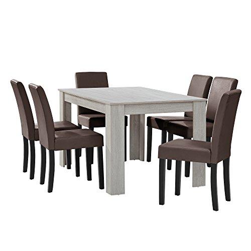 [en.casa] Esstisch Eiche weiß mit 6 Stühlen braun Kunstleder Gepolstert 140x90 Essgruppe Esszimmer