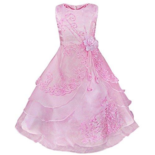 YiZYiF Mädchen Kleid Festlich Blumen Stickerei Elegant Kleider mit Petticoat Abend Partykleid 98-164