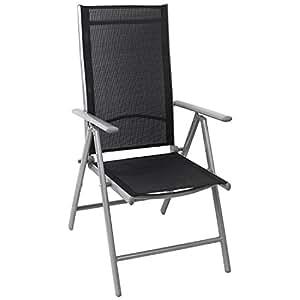 Aluminium Hochlehner, hochwertige Textilenbespannung, 8-fach verstellbar, klappbar, Silber/Schwarz - Gartenstuhl Liegestuhl Positionsstuhl Klappstuhl Balkonmöbel Gartenmöbel Terrassenmöbel