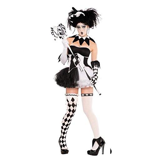 Imagen de harlequin tricksterina miel harley quinn batman baddy disfraz 9unidades tamaño 10–12blanco y negro medias sexy corsé tutú