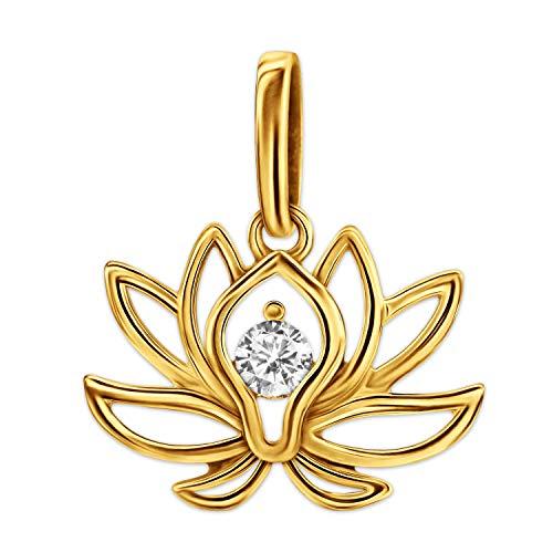 Clever - Colgante de flor de loto para mujer, 17 x 12 mm, brillante, en el centro con 1 circonita blanca, oro 333 de 8 quilates