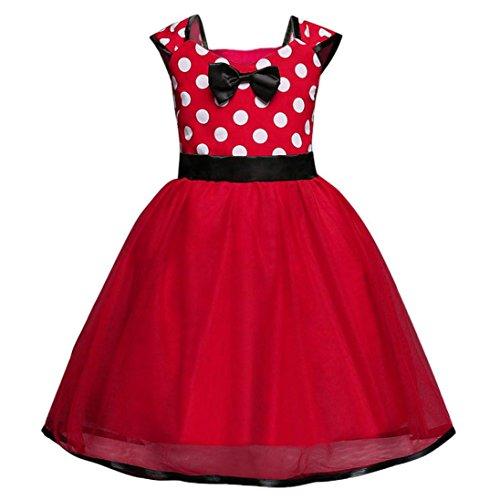 Longra Mädchen Kleider Prinzessin Kostüm Baby Kinder Weihnachten Kostüm Prinzessin Dot Weihnachten Outfits Kleidung Kleid Hochzeit Party Festzug Kleider (Red, 100CM 2Jahre) (Print Cap Satin)