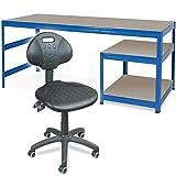 Spar-Set - Arbeitstisch/Packtisch mit Unterbau mit 2 Böden 1800 x 600 x 900 mm + Arbeitsdrehstuhl mit Rollen