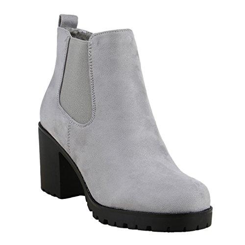 Damen Stiefeletten Blockabsatz Chelsea Boots Profilsohle Hellgrau Grau Velours