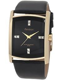 Armitron Hommes 204604BKGPBK Swarovski Crystal accentués or-ton Black Watch Bracelet en Cuir