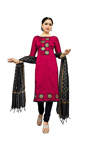 Crazy Women's Silk Salwar suits for women Semi Stitched (Pink)