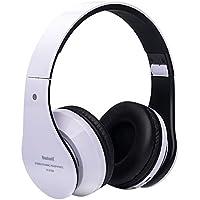 Pieghevole senza fili Bluetooth Stereo Headset subwoofer HIFI mani libere cuffia Mic TF card (bianco (Mano A Filo)