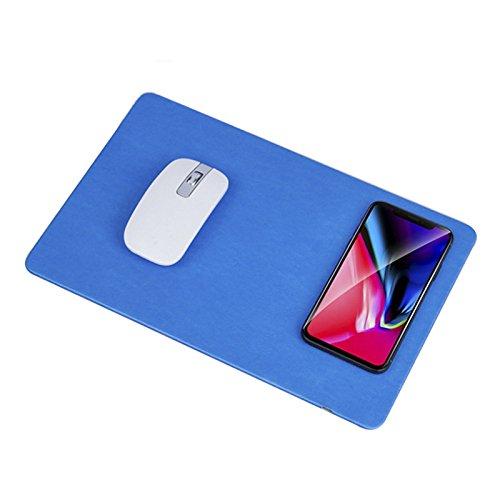 JIALONGZI QI Wireless Charging Mauspad, Rutschfeste Gummiunterseite, kompatibel mit den meisten Smartphones einschließlich iPhone und Android blau himmelblau 298 * 198 * 6 (mm)