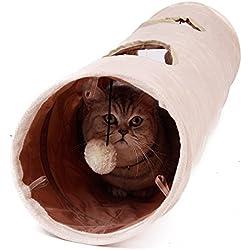 Gato Juguetes Túnel con 2 Agujeros para Explorar 120x25cm