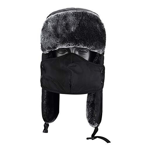 Topnaca Gorro Unisex cálido, Incluye máscara y Cuello,Estilo Ruso, Ideal para el frío Invierno, Reflectante, Impermeable, térmico, cálido, Apto para Nieve, esquí, Caza y Senderismo ...