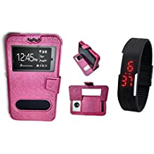 BKDT Marketing Leather finish Flip Cover Case Stand Diary Style for LG L Bello with Dislay Window and Stand - Pink with Digital Watch