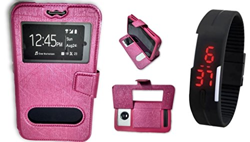 BKDT Marketing Leather finish Flip Cover Case Stand Diary Style for Samsung Galaxy S4 I9295 Active with Dislay Window and Stand - Pink with Digital Watch  available at amazon for Rs.519