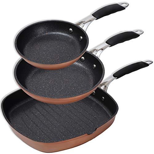 BERGNER PK1627 Set de sartenes Ø20 ø24 y ø28, Aluminio Forjado, inducción, Copper Just for Chefs