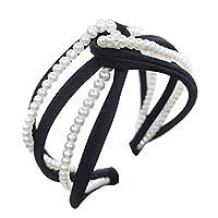 quanju cheer Fashion Women Headwear Twist Faux Pearl Inlaid Hollow Out Personality Jewelry Hair Hoop Headband - Black