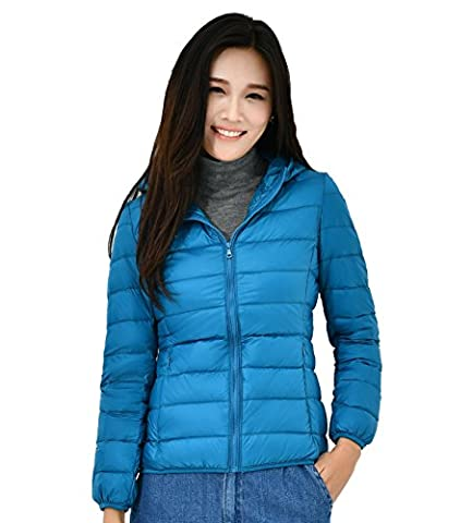 Quibine Damen Ultra-leichter Schlank geschnitten Stehkragen Winter Herbst Warm Kapuzenjacke Daunenjacke mit Kapuze mit Aufbewahrungsbeutel für Frauen (Hellblau,Large)