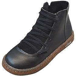 MrTom Botines de Cuero Otoño Vintage Mujer Zapatos con Cordones Botas de Rome Planas Tobillo Bota Corta Otoño Primavera Botas de Seguridad Calzado de Trabajo Fiesta Casual Damas