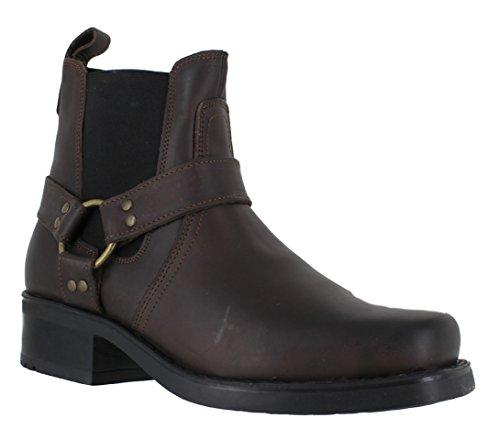Gringos M486Harley Leder-Stiefeletten für Herren, Biker-/Cowboy-Stil, Braun - braun - Größe: 45 (Motorrad Stiefel Western)