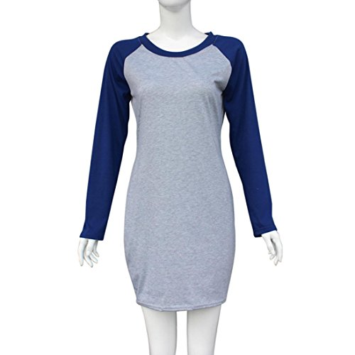 Bluestercool Frauen Spliced Color Block Bodycon Abend Partei Miniclub Kleid Grau