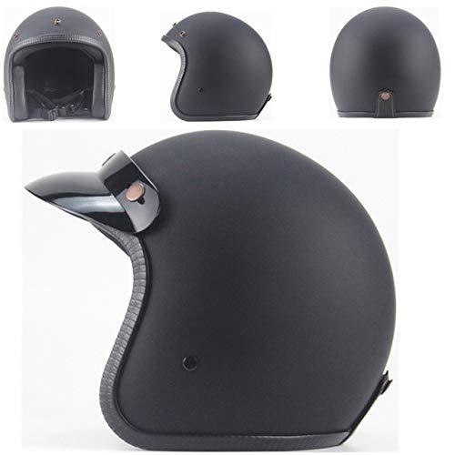 Berrd Casque Moto Rétro Open Face Retro Racing Casque De Moto avec des Lunettes De Masque Noir Mat M