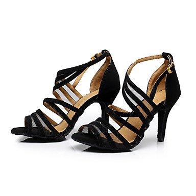 Chaussures De Danse-personnalisable-womens-latin Dance / Sneakers De Danse Moderne / Salsa-a Stiletto-velvety-black Black