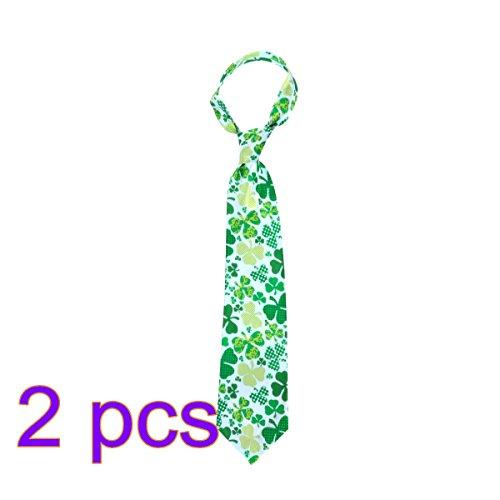 att-Krawatte St.Patricks Tageskostüm-Dekorations-Klee-Krawatte der irischen Männer Krawatten-Feiertags-Cosplay Kostüm-Bindung 2PCS (St Patrick Tag Outfit)