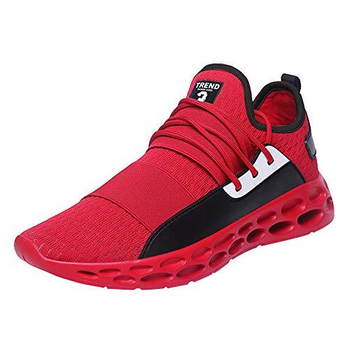 Sneakers Sportive Comodo E Indossabile Allacciate Traspiranti Leggere da Uomo Casual per Scarpe Tennis Adulti(Rosso+41 EU)