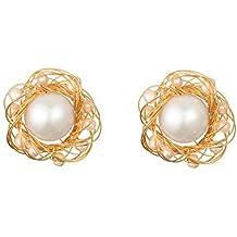 22d9f26f1ec9 Pendientes Grandes Brillantes Oro 18 Kilates Perlas Barroco Dorados Mujer  Mariage
