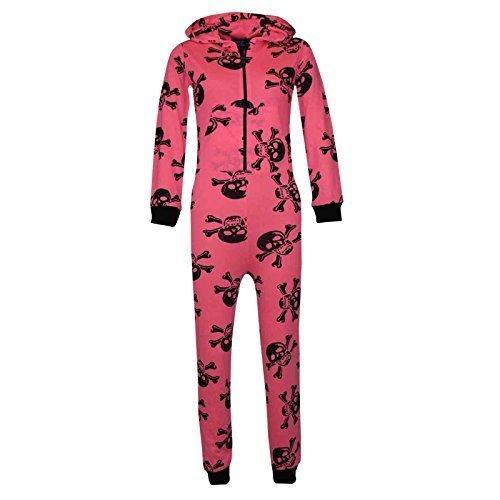 Kinder Unisex Mädchen Jungen Schädel & Kreuzknochen Onesie Halloween Kostüm Overall PJ 5-13 Jahren, Neonrosa, ()