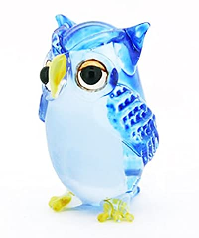 Lampwork COLLECTIBLE MINIATURE HAND BLOWN Art GLASS Single Owl Blue FIGURINE