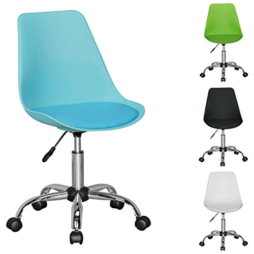 FineBuy HAINAN | Drehstuhl mit Kunstleder-Sitzfläche Blau | Design Drehsessel Wartezimmerstuhl ist höhenverstellbar | Schreibtischstuhl mit Rückenlehne | Bürostuhl / Jugendstuhl mit Schalensitz