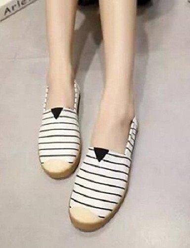 ShangYi gyht Scarpe Donna-Ballerine-Tempo libero / Casual-Comoda / Punta arrotondata-Piatto-Tessuto-Nero / Bianco White