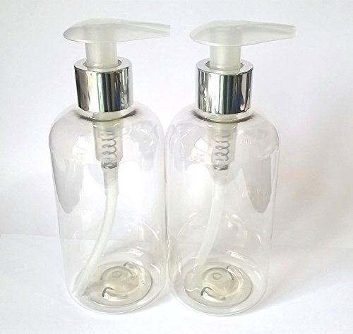 2 X 250ML Empty Plastic Bottle with Silver Lotion Pump Dispenser - Clear PET Recyclable