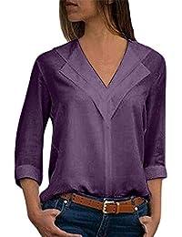 Chemises Dames Automne Mousseline De Tops Soie Solide Chic Jeune Femmes  Élégant À Manches Longues T Shirt Plain Roulé Manches… ee6178098e54