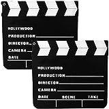 TE-Trend 2 Piezas Claqueta Hollywooddeko Claqueta Szenenklappe Madera 20x18 cm Prop Carnaval Película Traje de Disfraz