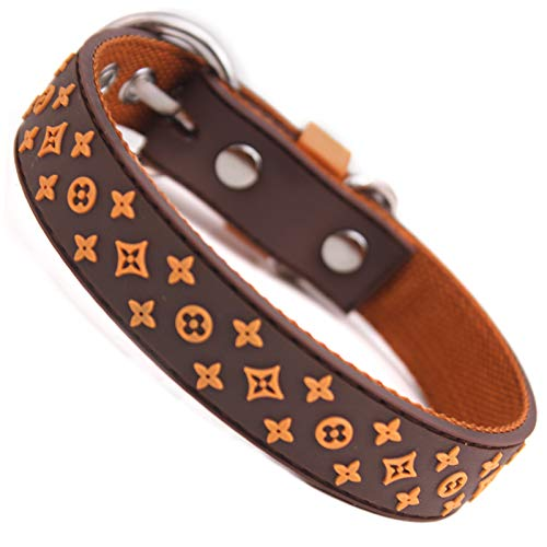 dfhdfsg Pet Lead Small Pet Dog Collar Lead Black Brown Rubber and Nylon Pet Belt