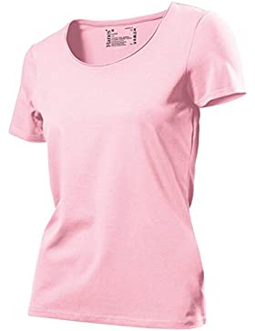 Hanes, Tasty, t-shirt da donna, setosa al tocco, in cotone, taglie 40-50 Pink X-Large
