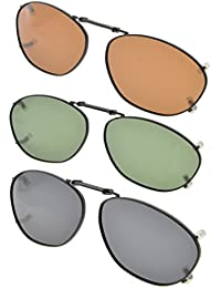 Eyekepper Grey/Brown/G15 Lens 3-pack Clip-on Polarized Sunglasses 51x33MM