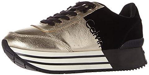 Calvin Klein Carlita Metal Canvas/Flocking, Baskets Femme, Multicolore (Gold/Black), 41 EU