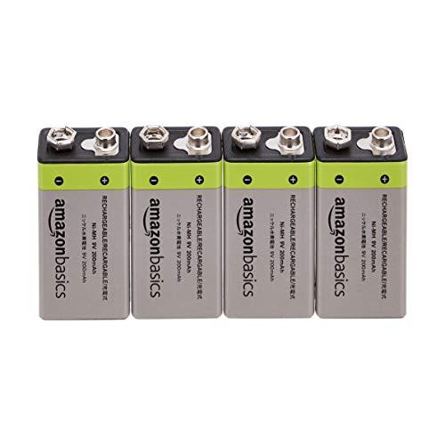 AmazonBasics - 9-V-Zellen, wiederaufladbare Batterien, 200 mAh NiMH, 4er-Packung