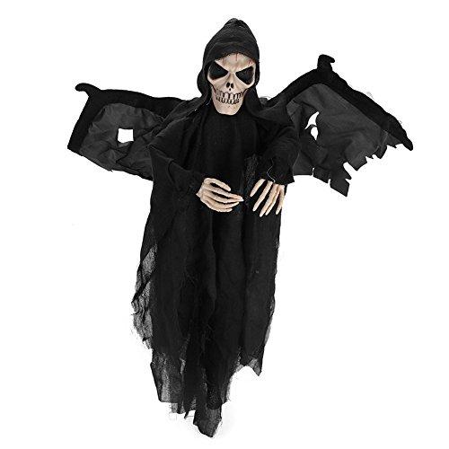 Halloween Kostüm Batman mit Flügel für Damen Herren Kinder Jungen Halloween Kleidung Geist Schall Kapuze Maske Horror Zombie Teufel Halloween Mantel Vampir umhang für Karneval Party Cosplay Schwarz