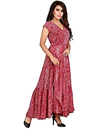 Latest Poly Georgette Red Printed One Piece Dress