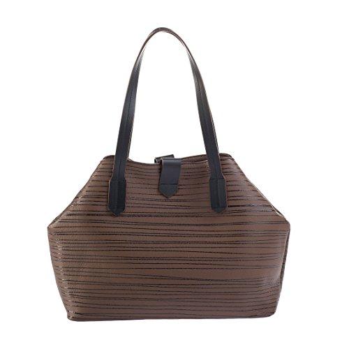 Borsa/shopper a spalla made in italy - in pelle nappa verniciata in vari colori - chiusura con calamita e tasche interne Nocciola