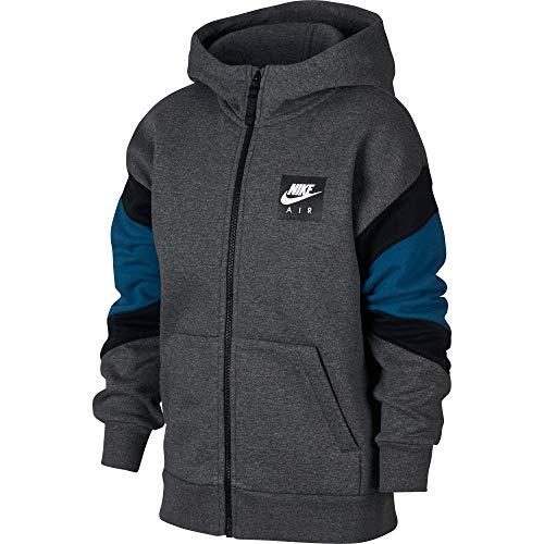 Nike Kinder Full Zip Hoodie, Charcoal Heathr/Blue Force/Bla, S - Kinder, Die Nike Full-zip Fleece