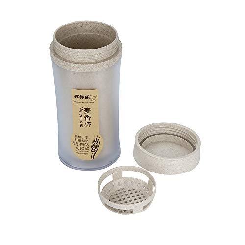 Syeytx 330ml Naturweizenstroh Tragbare Wasserflasche Getränkebehälter Tasse