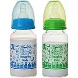 PREMIUM BOROSILICATE BABY GLASS FEEDING BOTTLE WITH TWIN LSR NIPPLE-BLUE-125ML+GREEN-125ML