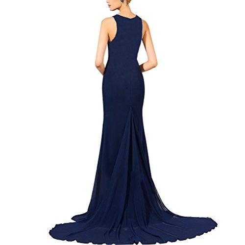 Aiyana Elegantes Damen Aermellos Gerade Ballkleider Langes O-Ausschnitt Kapelle Zug Abendkleid Dankeblau 38 Rot