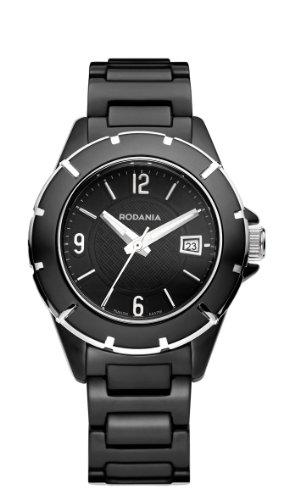 RODANIA Swiss Mystery Damen-Quarzuhr mit schwarzem Zifferblatt Analog-Anzeige und Armband Keramik Schwarz RS2508546